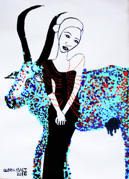 Painting - Dinka Sweetheart - South Sudan by Gloria Ssali