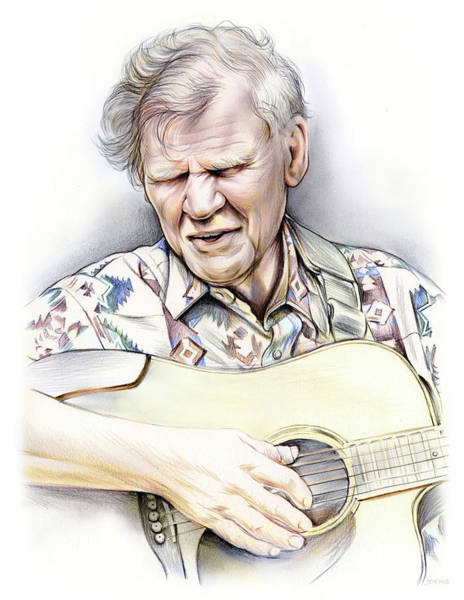 Wall Art - Drawing - Doc Watson by Greg Joens