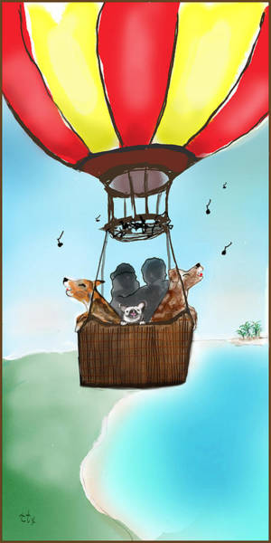 Art Print featuring the digital art 3 Dogs Singing In A Hot Air Balloon by Teresa Epps