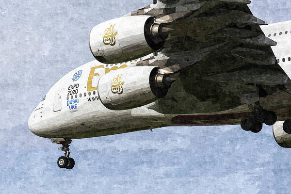 Wall Art - Photograph - Emirates A380 Airbus Oil by David Pyatt