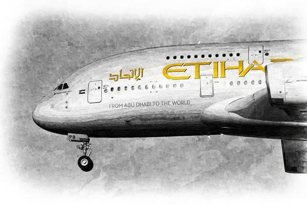 Wall Art - Photograph - Etihad Airlines Airbus A380 Art by David Pyatt