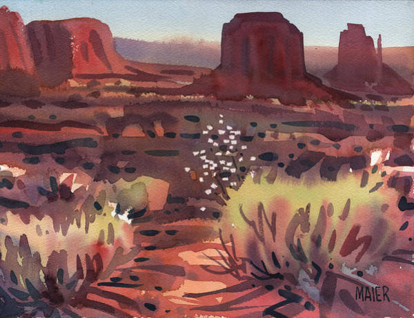 Butte Painting - Evening In Monument Valley by Donald Maier