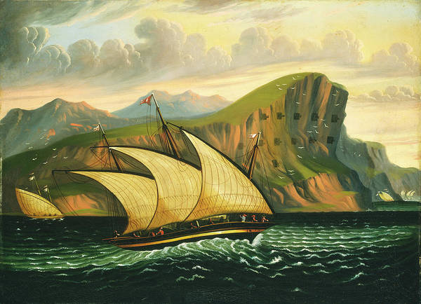 Painting - Felucca Off Gibraltar by Thomas Chambers