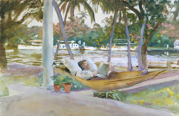 Wall Art - Drawing - Figure In Hammock, Florida by John Singer Sargent