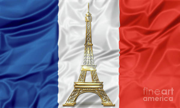 Digital Art - Flag Of France With Eiffel Tower by Benny Marty