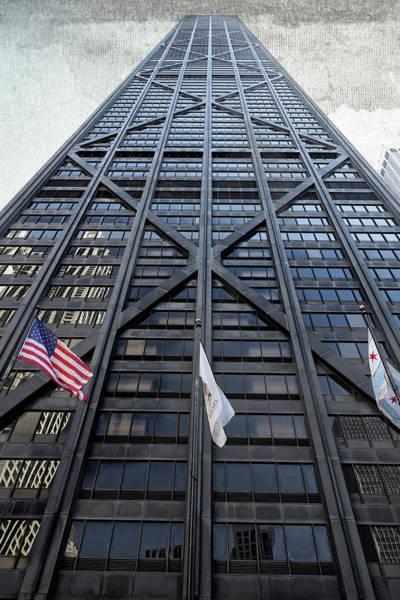 3 Flags Before Hancock Center - Chicago Art Print