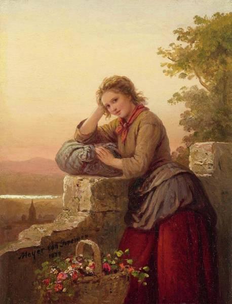 Meyer Painting - Flower Girl by Johann Georg