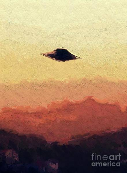 Area 51 Wall Art - Painting - Flying Saucer by Raphael Terra