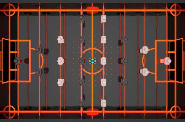Luminous Digital Art - Foosball Players by Allan Swart