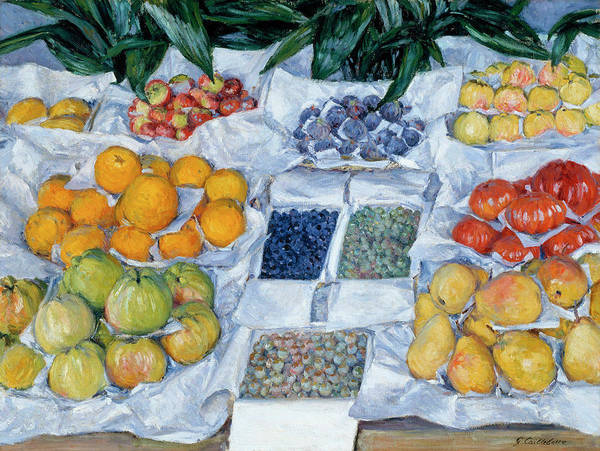 Wall Art - Painting - Fruit Displayed On A Stand by Gustave Caillebotte