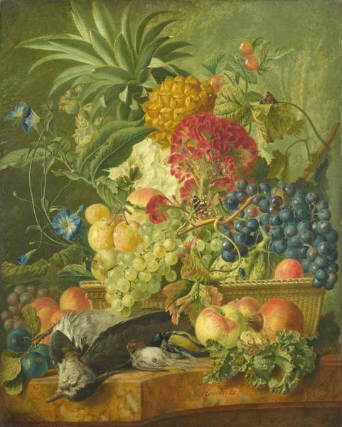 Wall Art - Painting - Fruit, Flowers And Dead Birds by Wybrand Hendriks