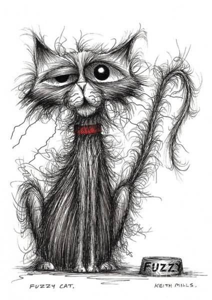 Puss Drawing - Fuzzy Cat by Keith Mills