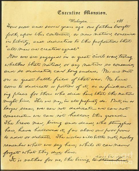 Gettysburg Address Wall Art - Photograph - Gettysburg Address by Granger