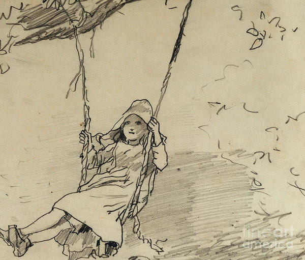 Crayon Drawing - Girl On A Swing by Winslow Homer