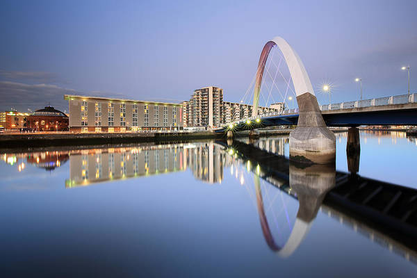 Photograph - Glasgow Clyde Arc Reflection Twilight by Grant Glendinning