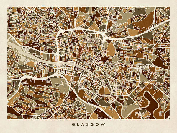 Wall Art - Digital Art - Glasgow Street Map by Michael Tompsett