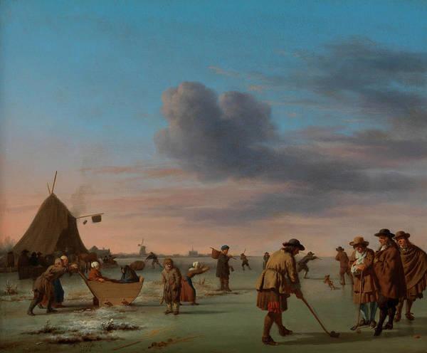 Hobby Painting - Golfers On The Ice Near Haarlem by Adriaen van de Velde