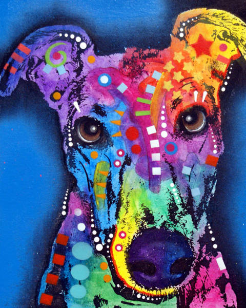 Canine Painting - Greyhound by Dean Russo Art