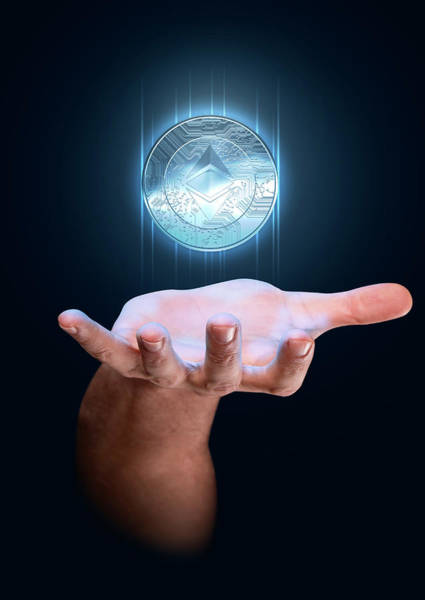 Etc Wall Art - Digital Art - Hand With Cryptocurrency Hologram by Allan Swart