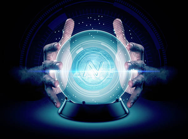 Wall Art - Digital Art - Hands On Crystal Ball And Cryptocurrency by Allan Swart
