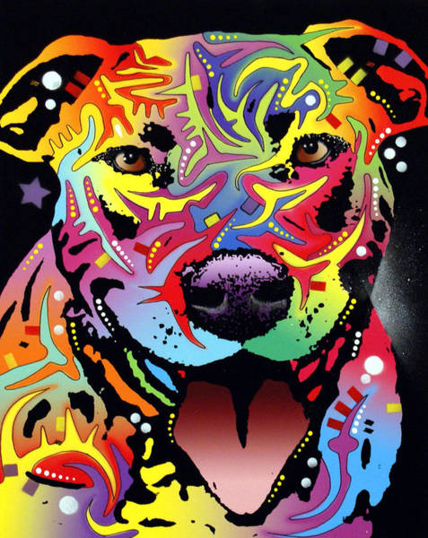 Pitbull Painting - Happy Bull by Dean Russo Art