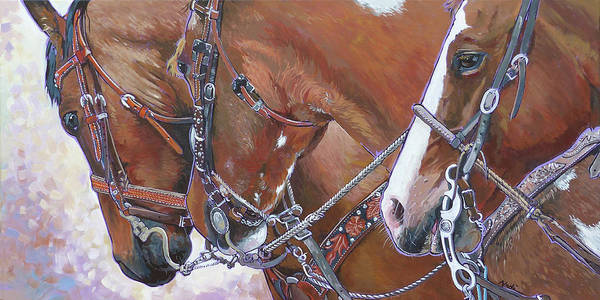 Roping Painting - 3 Heads by Nadi Spencer