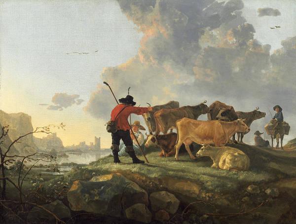 Aelbert Cuyp Painting - Herdsmen Tending Cattle by Aelbert Cuyp
