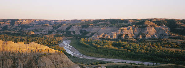 North Dakota Badlands Wall Art - Photograph - High Angle View Of A River Passing by Panoramic Images