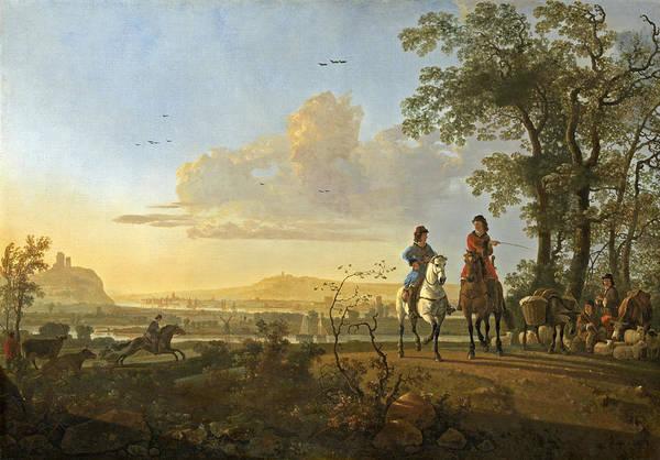 Aelbert Cuyp Painting - Horsemen And Herdsmen With Cattle by Aelbert Cuyp