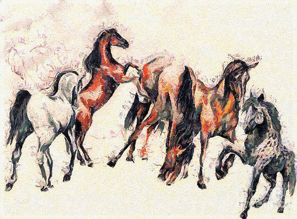 Wall Art - Painting - Horses by Odon Czintos