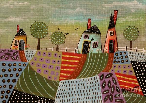 Blackbird Painting - 3 Houses 1 by Karla Gerard