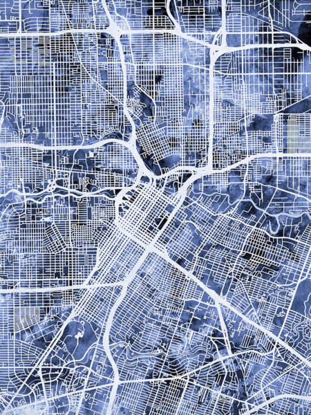 Streets Digital Art - Houston Texas City Street Map by Michael Tompsett
