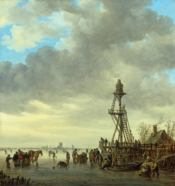 Painting - Ice Scene Near A Wooden Observation Tower by Jan van Goyen