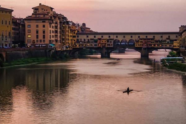 Digital Art - Impressions Of Florence - Ponte Vecchio Rowing In Rose Quartz Pink by Georgia Mizuleva