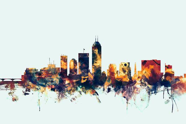 Wall Art - Digital Art - Indianapolis Indiana Skyline by Michael Tompsett