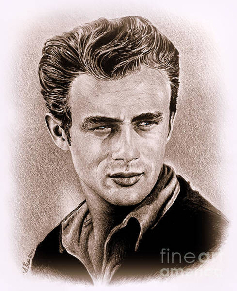 Handsome Drawing - James Dean by Andrew Read