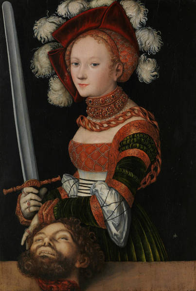 Cranach Painting - Judith With The Head Of Holofernes by Lucas Cranach the Elder