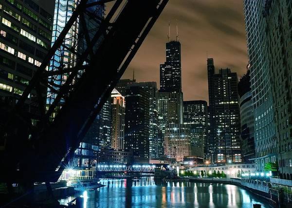 Chicago Tribune Wall Art - Photograph - Kinzie Street Bridge by Frozen in Time Fine Art Photography