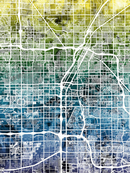Las Vegas Wall Art - Digital Art - Las Vegas City Street Map by Michael Tompsett
