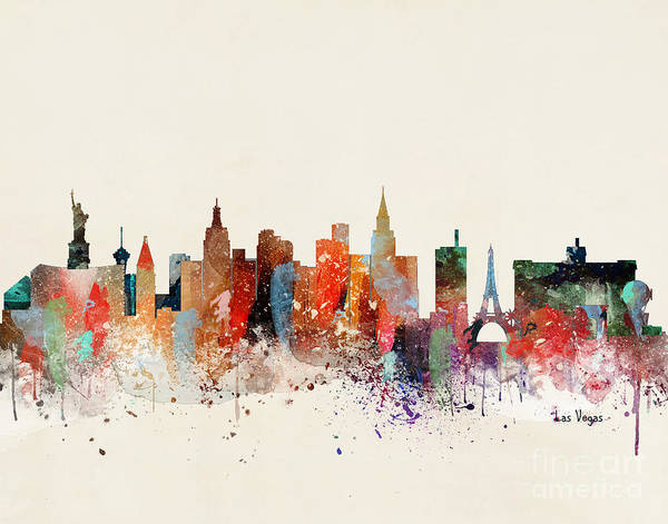 Wall Art - Painting - Las Vegas Skyline by Bri Buckley