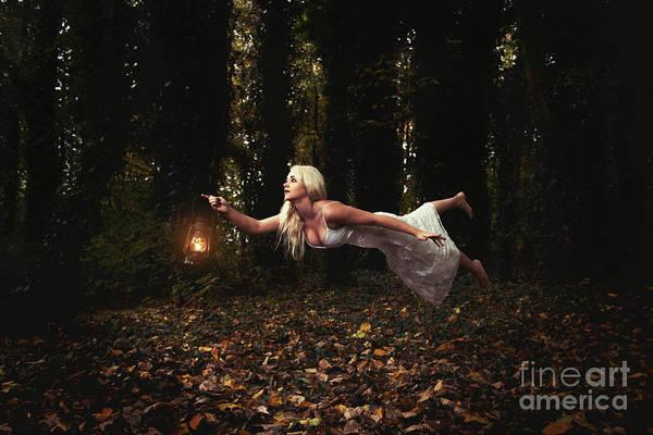 Wall Art - Photograph - Levitation With Lamp by Amanda Elwell