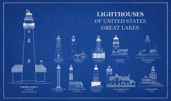 Wall Art - Drawing - Lighthouses Of United States - Great Lakes - Blueprint Drawing by JESP Art and Decor