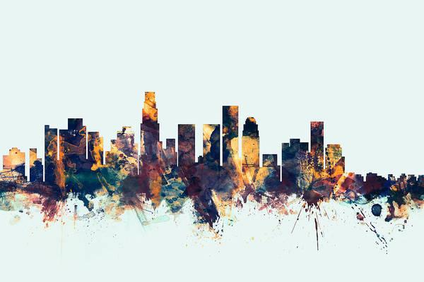 Skyline Wall Art - Digital Art - Los Angeles California Skyline by Michael Tompsett