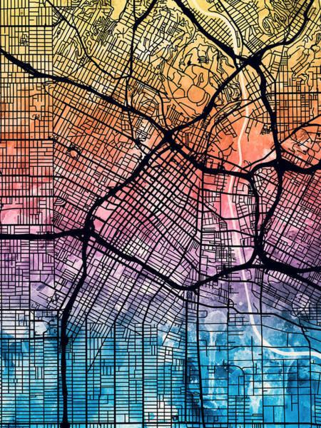 California Digital Art - Los Angeles City Street Map by Michael Tompsett
