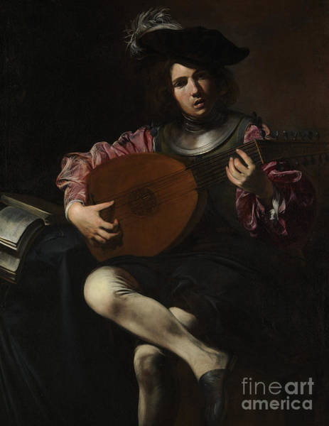 Strum Wall Art - Painting - Lute Player by Valentin de Boulogne