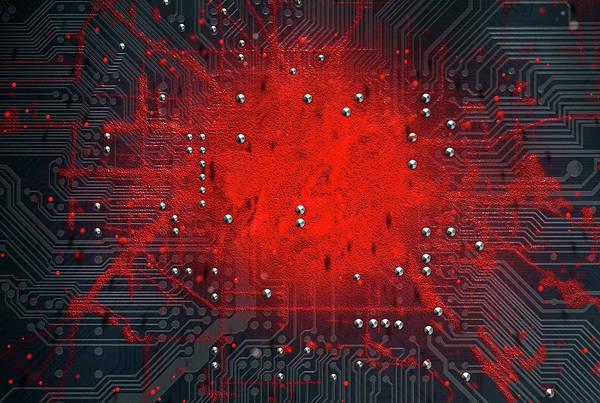 Infection Wall Art - Digital Art - Macro Circuit Board Infection by Allan Swart