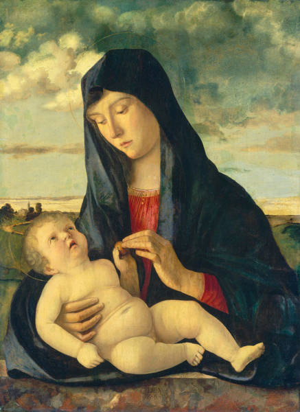 Wall Art - Painting - Madonna And Child In A Landscape by Giovanni Bellini
