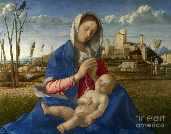 Wall Art - Painting - Madonna Of The Meadow by Giovanni Bellini