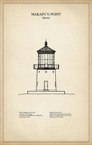 Makapuu Point Lighthouse - Hawaii - Blueprint Drawing Art Print