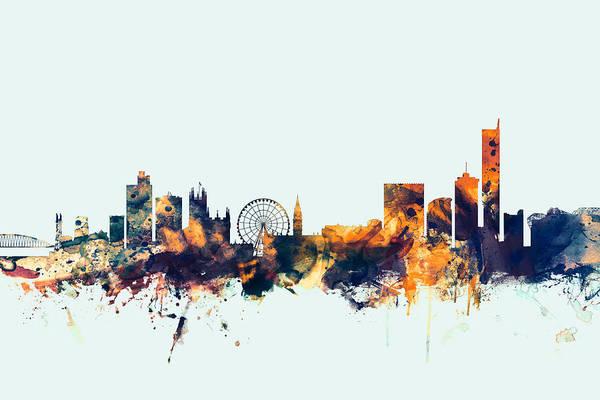 Greater Manchester Wall Art - Digital Art - Manchester England Skyline by Michael Tompsett
